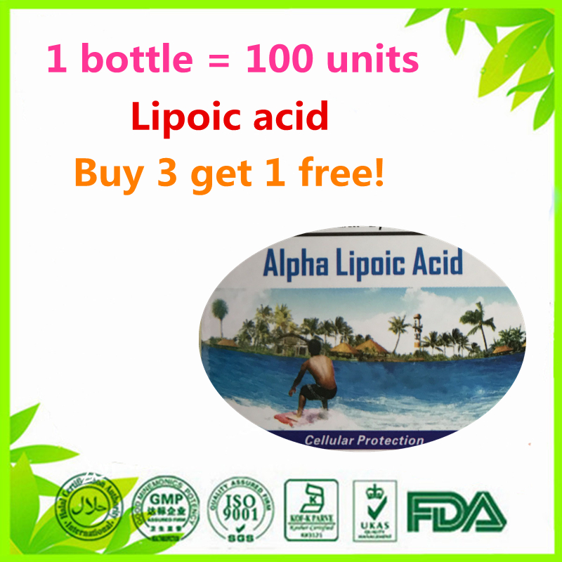 (Buy 3 Get 1 Free)Alpha Lipoic Acid 500 mg. - 100 unit gmp high quality alpha lipoic acid water soluble antioxidant 1000grams free shipping
