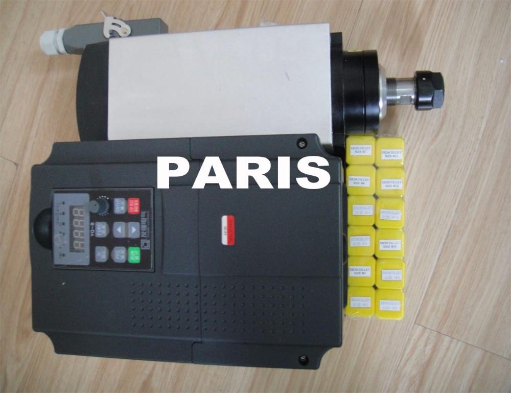 Zestaw wrzeciona cnc 4KW ER20 AC380V wrzeciono + 4KW AC380V falownik VFD + 12 sztuk ER20 zbierać