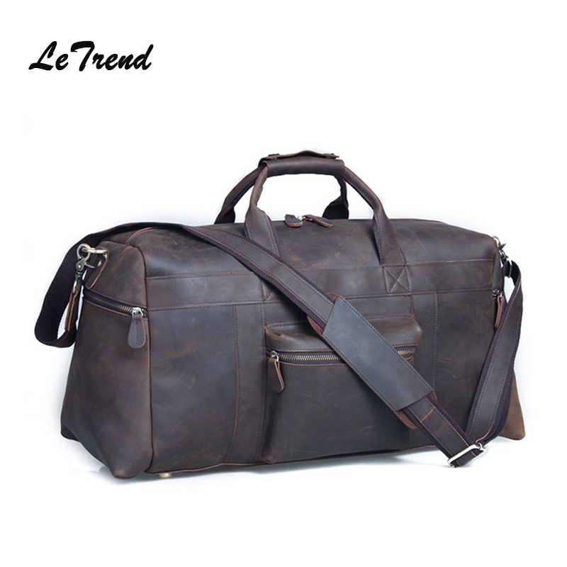LeTrend Retro Men's Travel bag Crazy Horse Skin Shoulder Bags Genuine Leather Luggage High capacity Men Vintage suitcase men travel bags crazy horse cow skin real leather man bags fashion design men shoulder bags