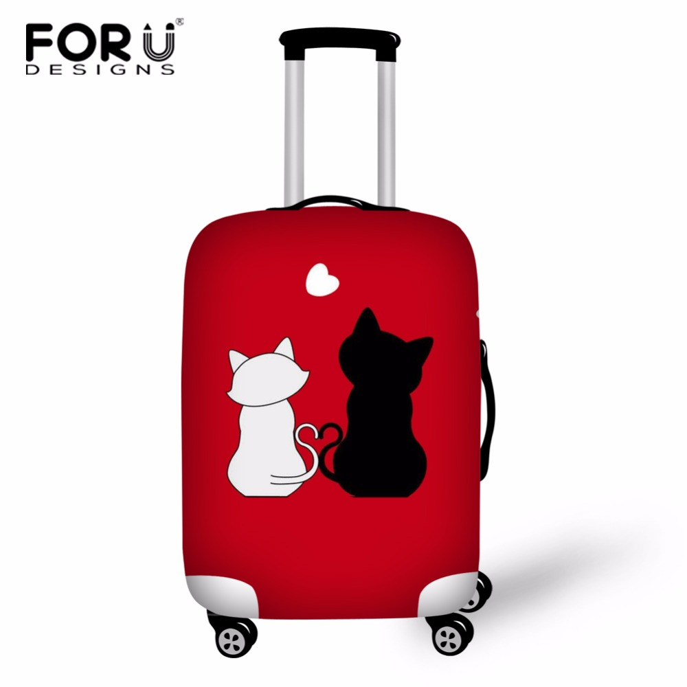 FORUDESIGNS Love Cat Design Style Cover For Suitcase Bags Travel Luggage Accessories Waterproof Protection Suitcase Custom