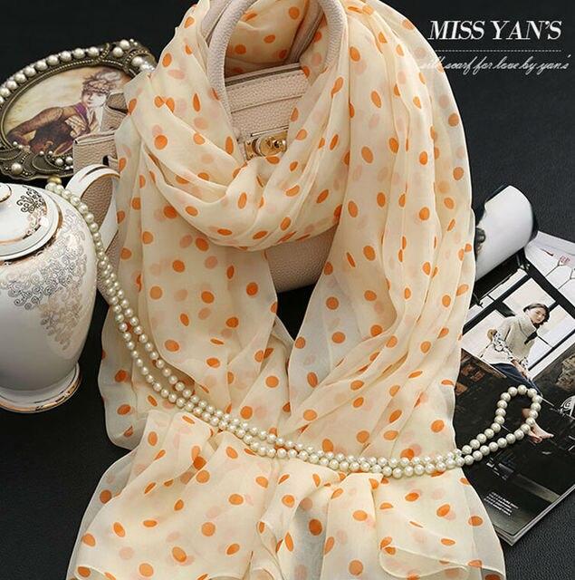 Genuine Silk Women Scarf Fashion Classic Beige Dot Print Scarves 2016 Spring Summer Winter Good Quality Shawl