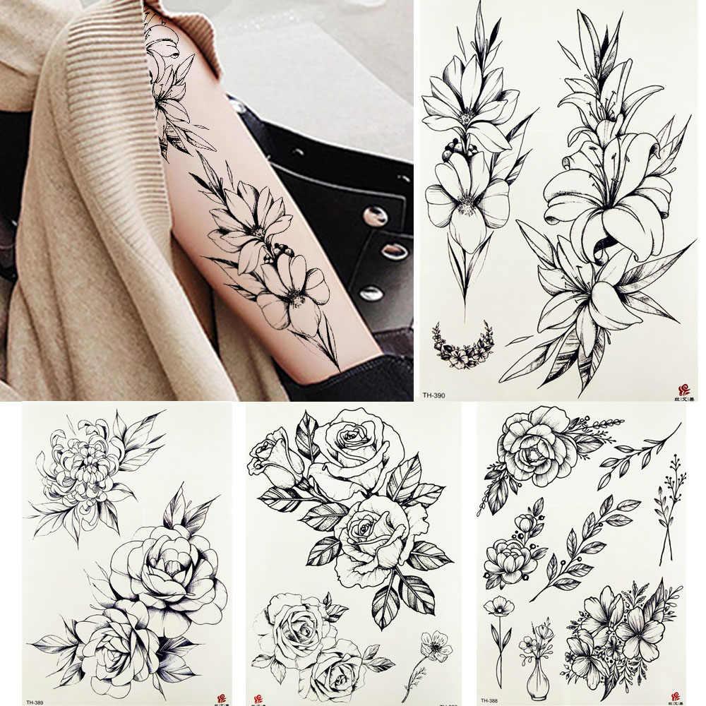 черный поддельный эскиз пион татуировки временные женщины боди арт