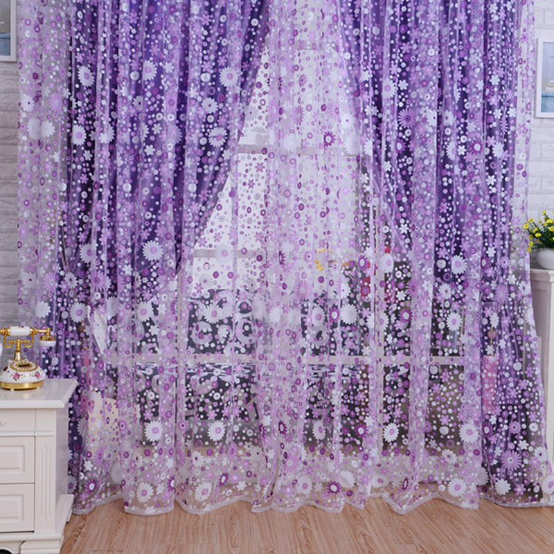 2016 New Sunflowers Pattern Printed Window Voile Curtains 100*200 CM Home Decoration Curtain Living Room Sheer Tulle VB243 P35