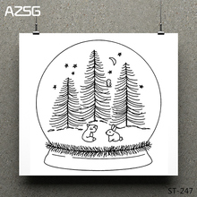 AZSG Crystal Ball Toy Pine Owl Clear Stamps/Seals For DIY Scrapbooking/Card Making/Album Decorative Silicone Stamp Crafts
