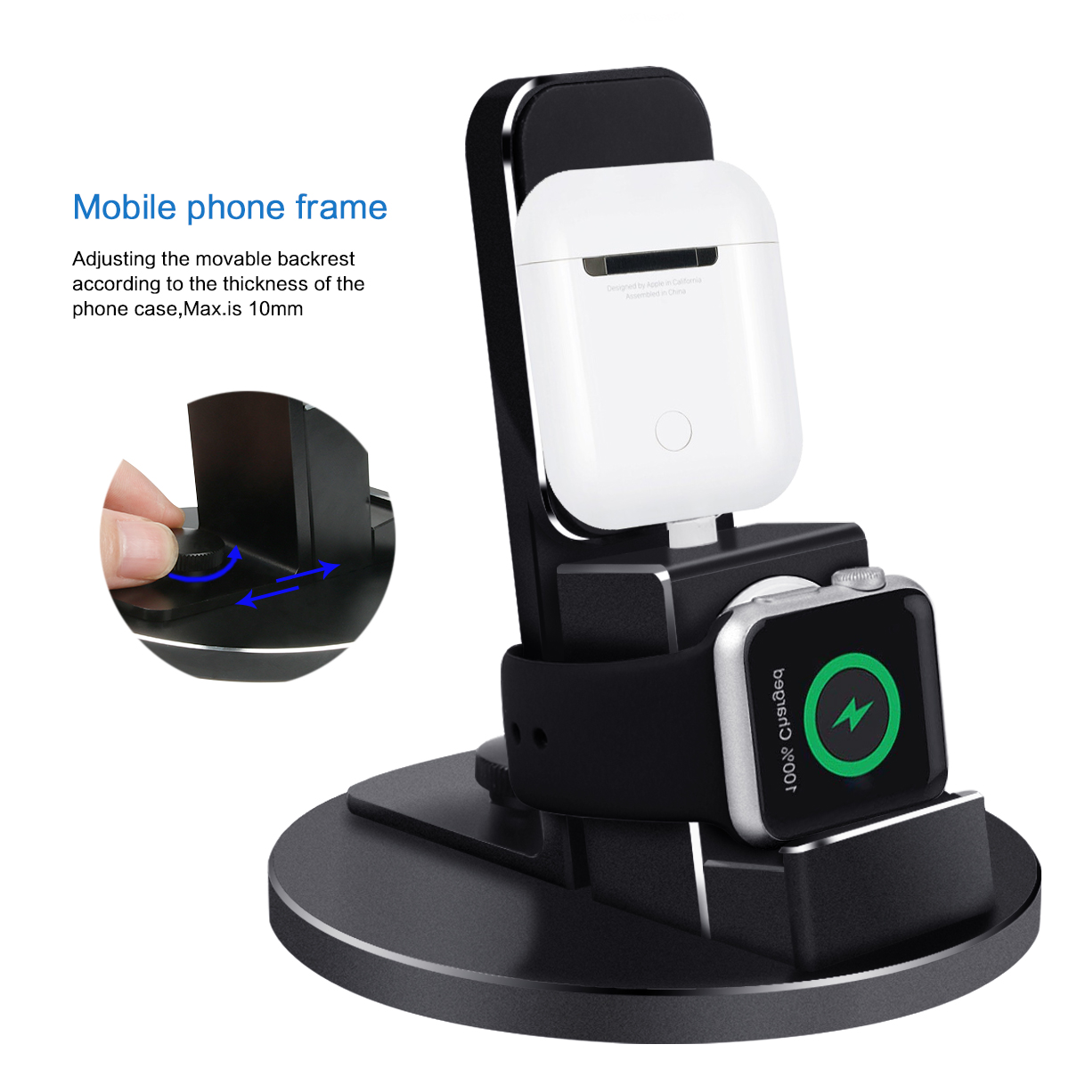 Phone Charger For Apple iPhone/iWatch/AirPods/iPod Desktop charger 3 In 1 Metal Texture Phone charger Holder For Apple Watch