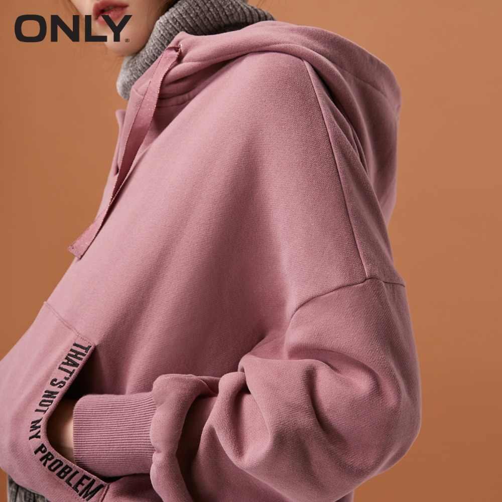 ONLY  womens' winter new fake two-piece plus velvet hoodies Fake two-piece design Warm high collar 11839S572