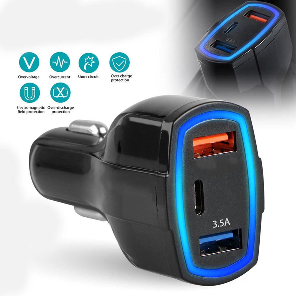Universal Mobile Phone Chargers Adapter QC3.0 Quick Charge Adapter 2 USB Port +Type-C Fast Car Charger 5V/3.5A