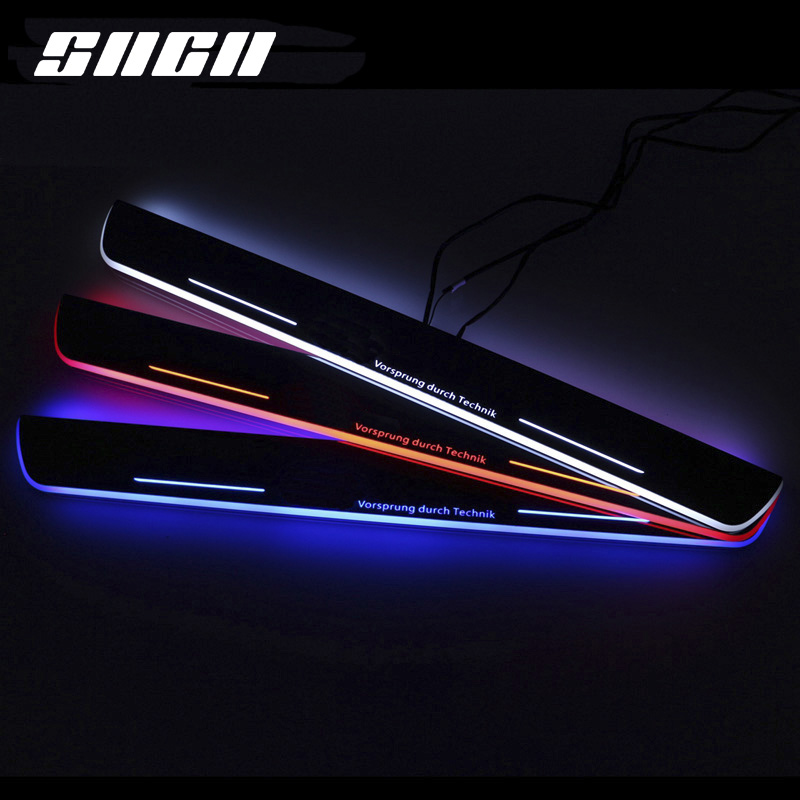 SNCN Trim Pedal LED Car Light Door Sill Scuff Plate Pathway Dynamic Streamer Welcome Lamp For