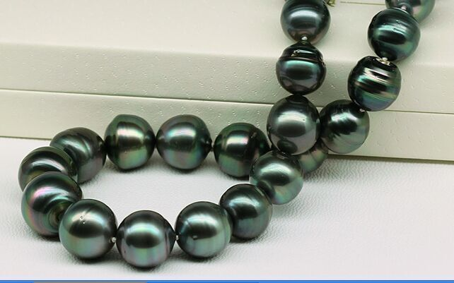 HUGE 10-11mm Natural Tahitian genuine black GREEN round pearl necklace