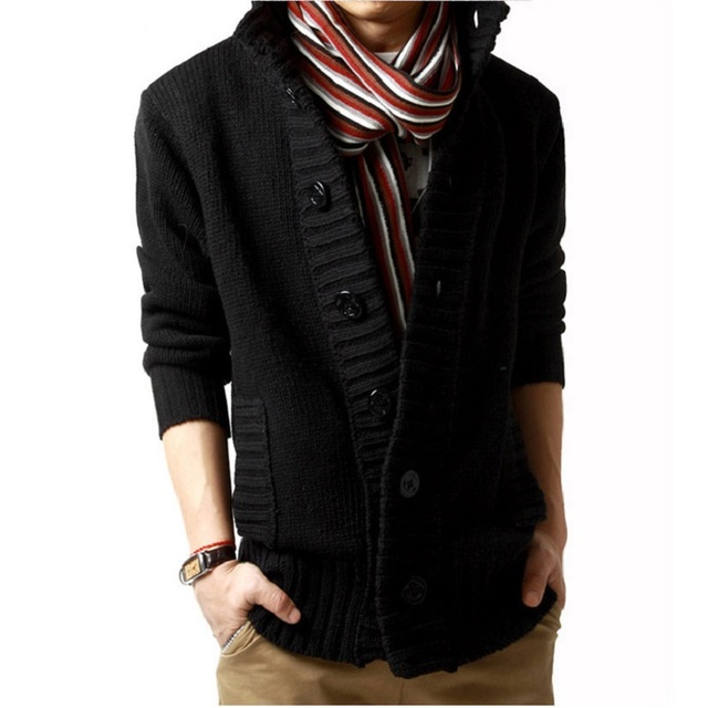 2016 New Brand Men's Sweaters Open Stitch Slim Fit Cardigan Men Casual Thicken Clothing Cardigan 4 Color Size:M-XXL 1KG weight
