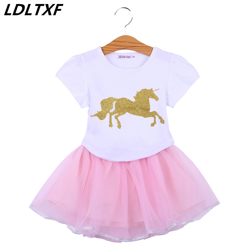 2018 NEW Girls Dress Summer Short Princess Dress Casual Girl Party Dress Cute Horse Cartoon T-Shirt+Veil Dress 2Pcs Girl Clothes
