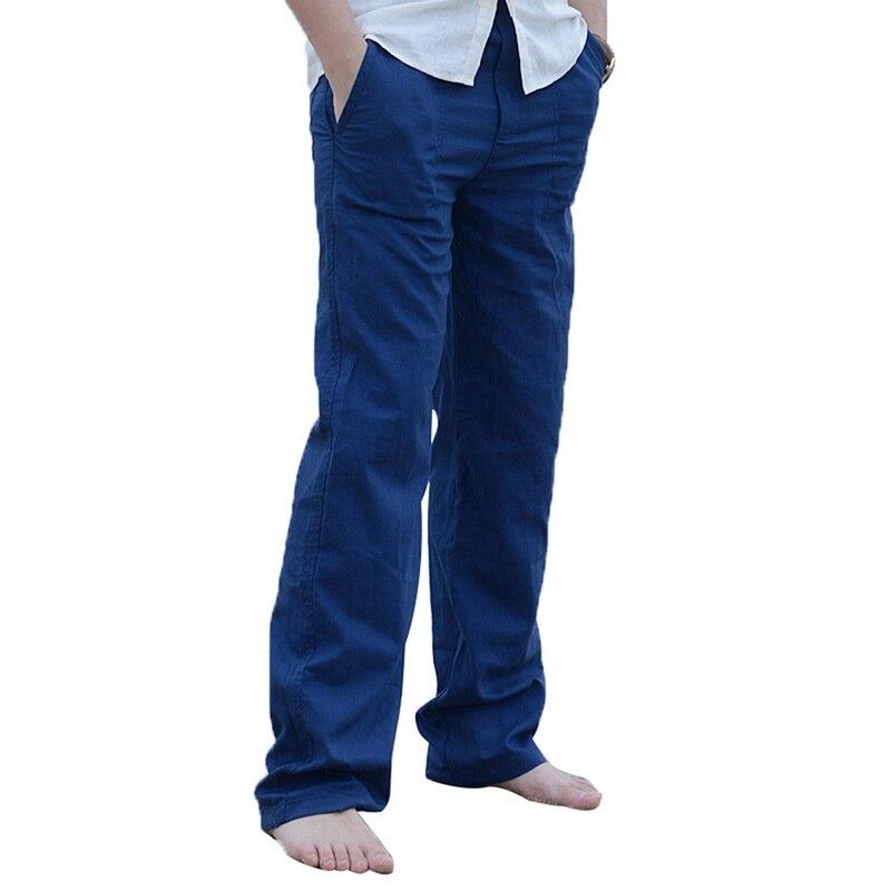 Puimentiua Mens Cotton Linen Pants Trousers Summer Casual
