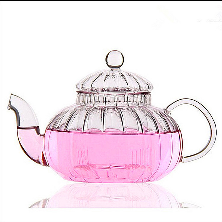 Free shipping pumpking glass teapot 600ml clause flower tea tea pot tea kettle