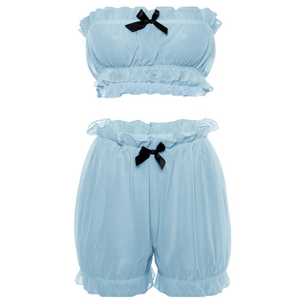 Mujeres Sexy dulce encaje envolver el pecho conjunto de gasa de dos piezas de verano de cintura alta con pantalones cortos Bowknot volantes playa Falbala tubo top