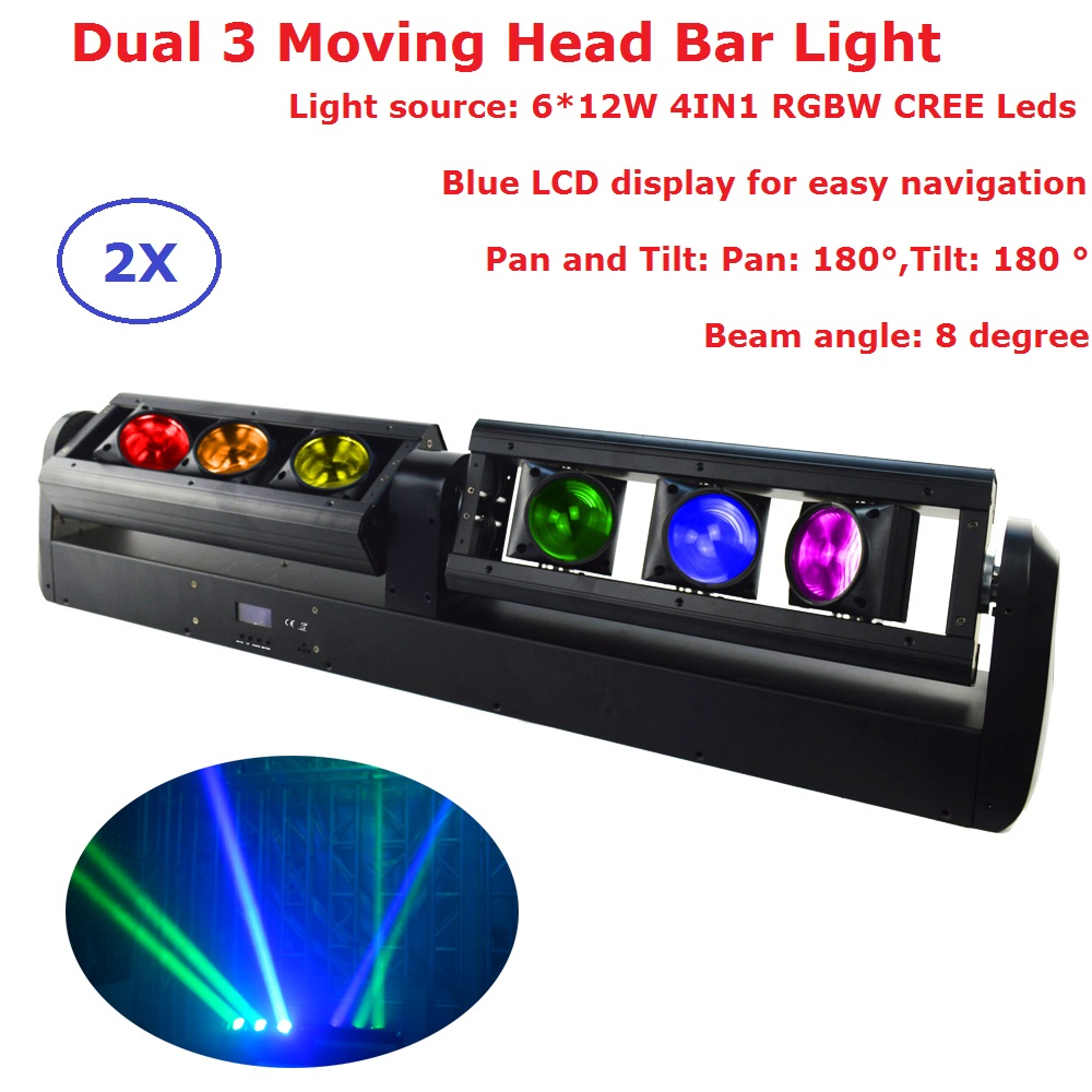 2Pack DHL Ship 6X12W RGBW Quad Color LED Moving Head Bar Light High Power 90W Bar Beam Moving Head Stage Lights For Dj Discos 2pack 132w beam moving head dj disco party stage lights high power 2r 132w stage beam effect moving head light free shipping