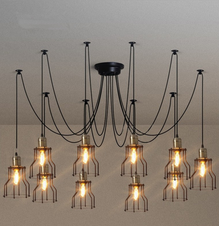 10 Lights Spider Chandelier Lamp Creative Vintage Personality Lighting Fixture for coffee restaurant