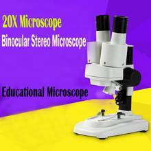 Hotsale20X LED Binocular Stereo Microscope PCB Solder Tool Insect Plant Watch Students Science Educational Microscope Kids Gifts microscope slides 12 children s standard microscope special plastic bio slice specimen animal insect plant flower sample slice