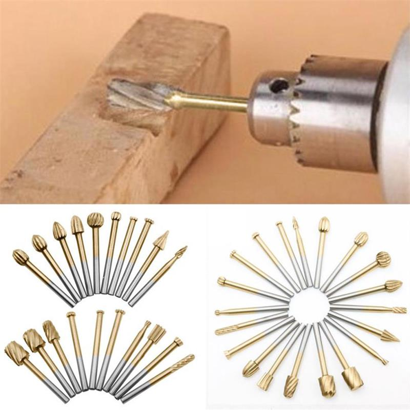 20Pcs HSS Routing Router Bits Rotary Tools Rotary Carving Carved Knife Cutter Tool 3.1mm Engraving Wood Working Used For Dremel