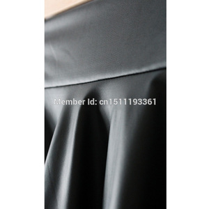 Image 4 - free shipping new high waist faux leather skater flare skirt casual mini skirt knee length solid color black skirt S/M/L/XL