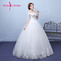 Beauty Emily 2018 White Ball Gown Wedding Dresses Lace O Neck Wedding Pary Bridal Gowns Elegant