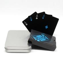 New arrive Top Quality Black Plastic PVC Poker Waterproof Tinplate Metal Box Black Playing Cards Creative Gift Durable Poker цена в Москве и Питере