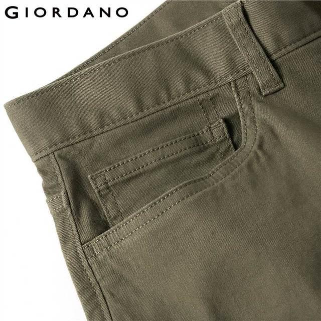 Giordano Men Pants Men Stretchy Cotton Spandex Solid Color Casual Pants Men Zip Front Button Closure Pantalones Hombre 62