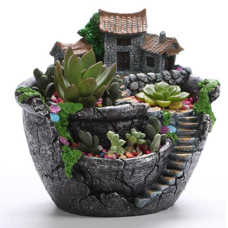 Desktop-Potted-Holder Planter Flower-Pot Garden-Decoration Succulent-Plants Home Resin