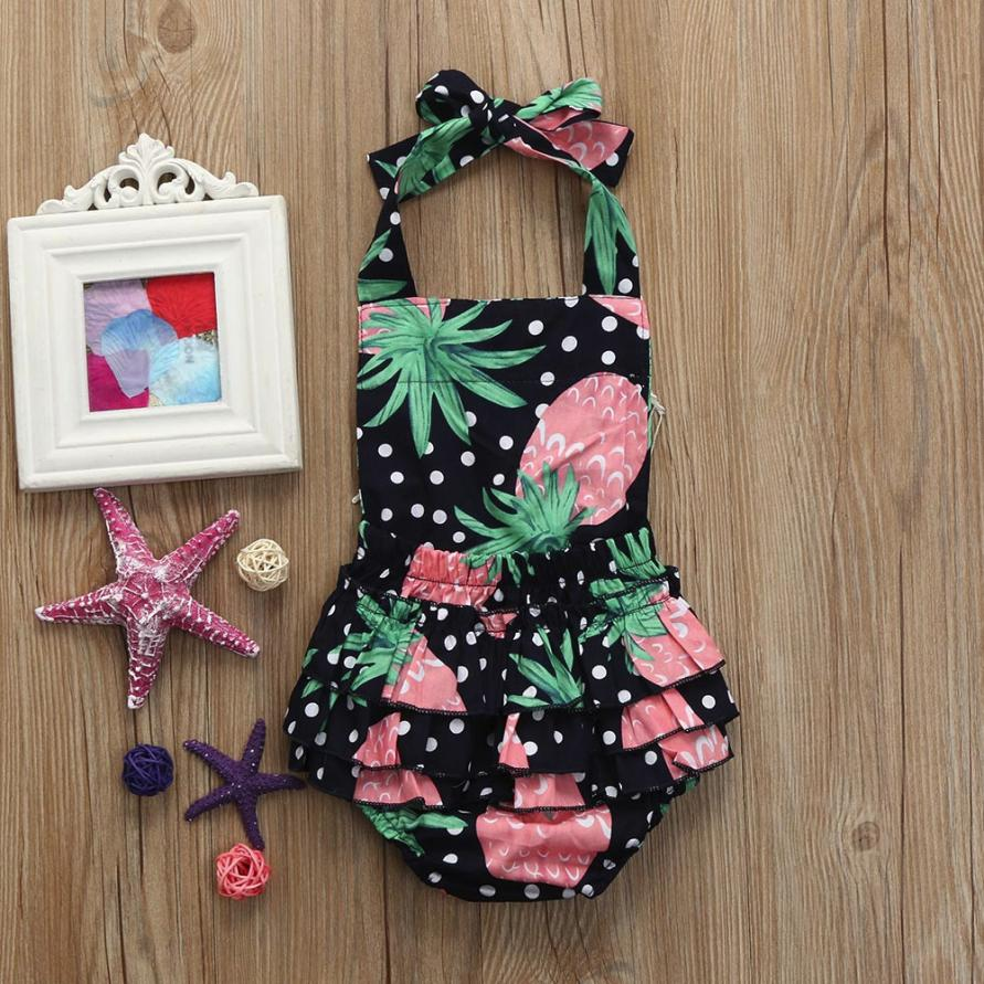 2018 baby girls summer fashion clothes Infant Pineapple Tassel Sleeveless Clothes Jumpsuit   Romper   M16