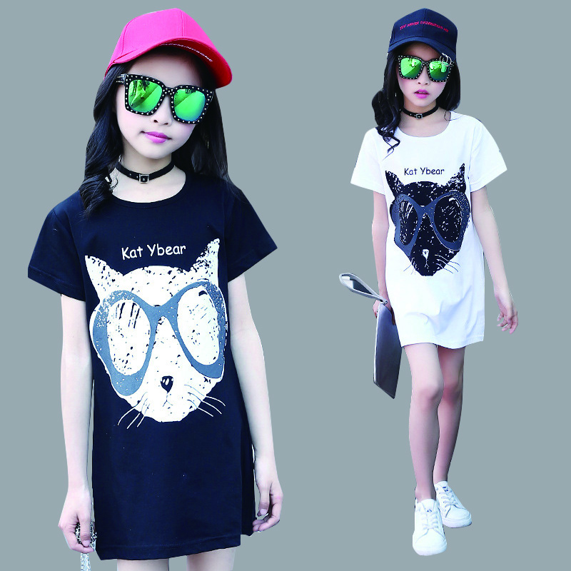 Girls Dresses Cartoon Cat Dresses For Girls Long T-Shirts Cotton Casual Children Sundress 4 5 7 9 11 Years Vestidos cotton cartoon t shirts