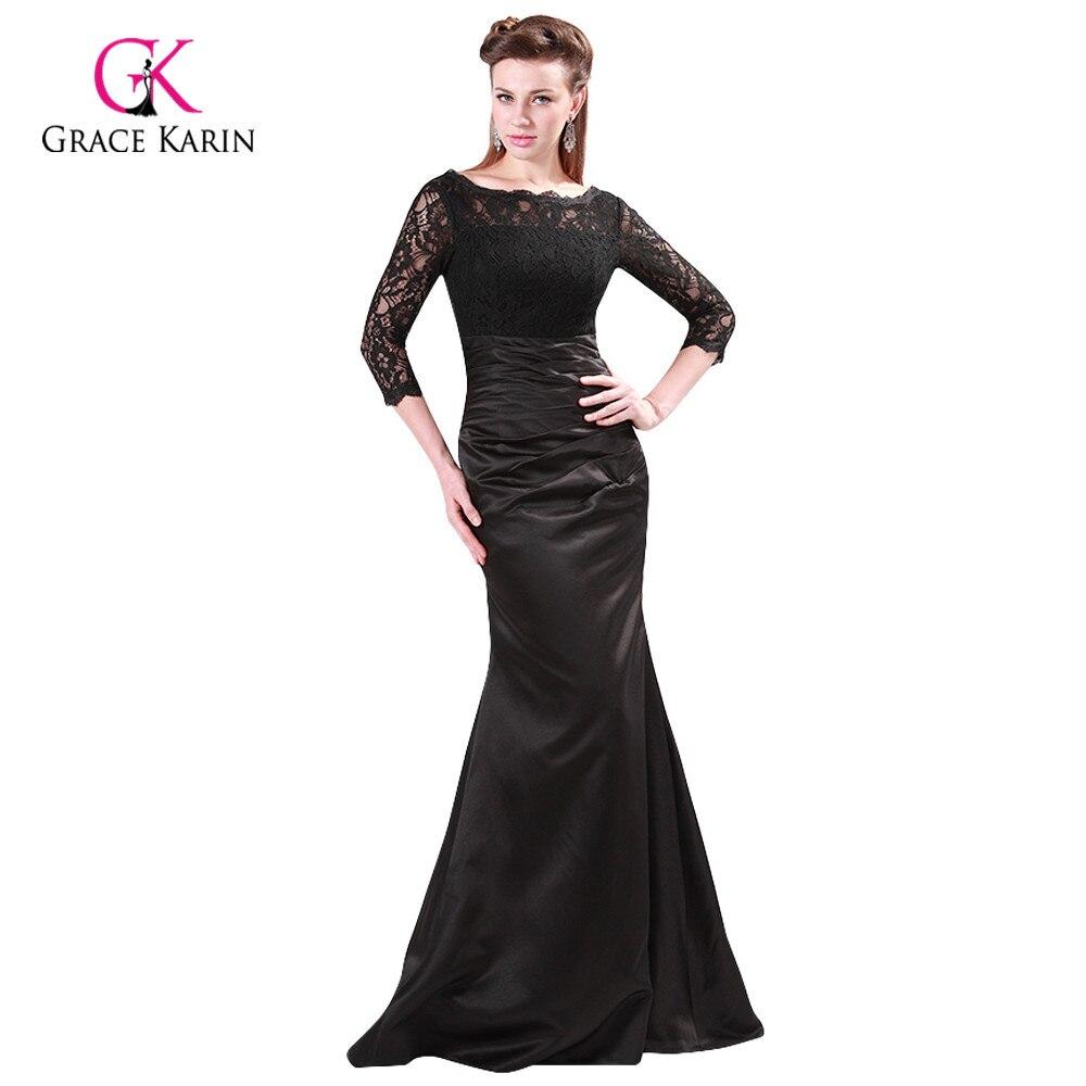 f58b1fd9fa6a Grace Karin Long Red Evening Dress Boat Neck Black Lace Mother of the Bride  Dresses Abendkleider ...