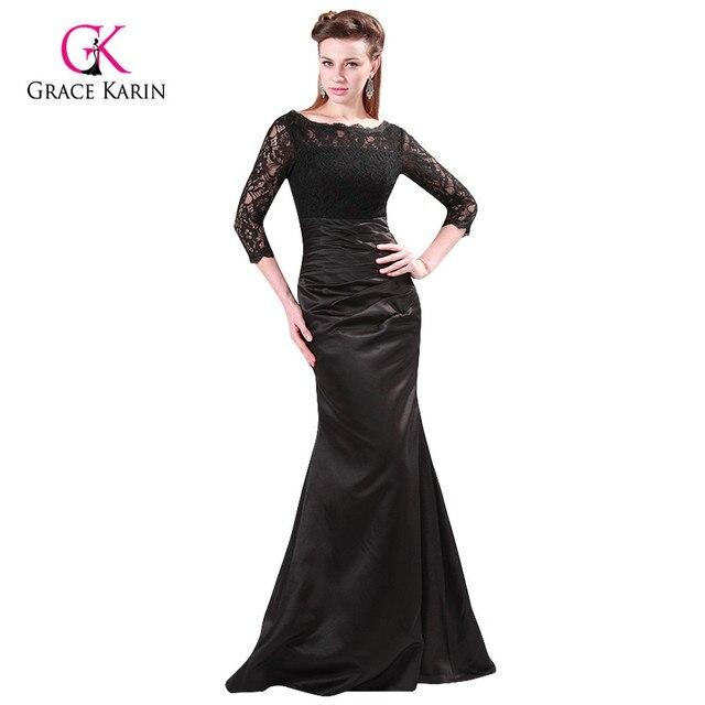 Elegant Grace Karin Red/Black Sleeve Lace + Satin Mermaid Formal ...