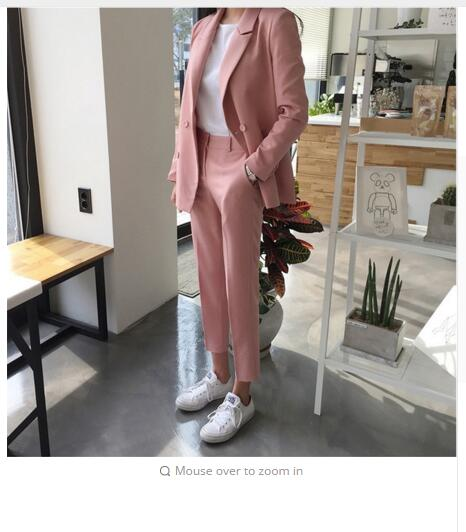 New Korean Version Double-breasted Suit Jacket High Waist Leisure Nine-piece Trousers Two-piece /SET Women
