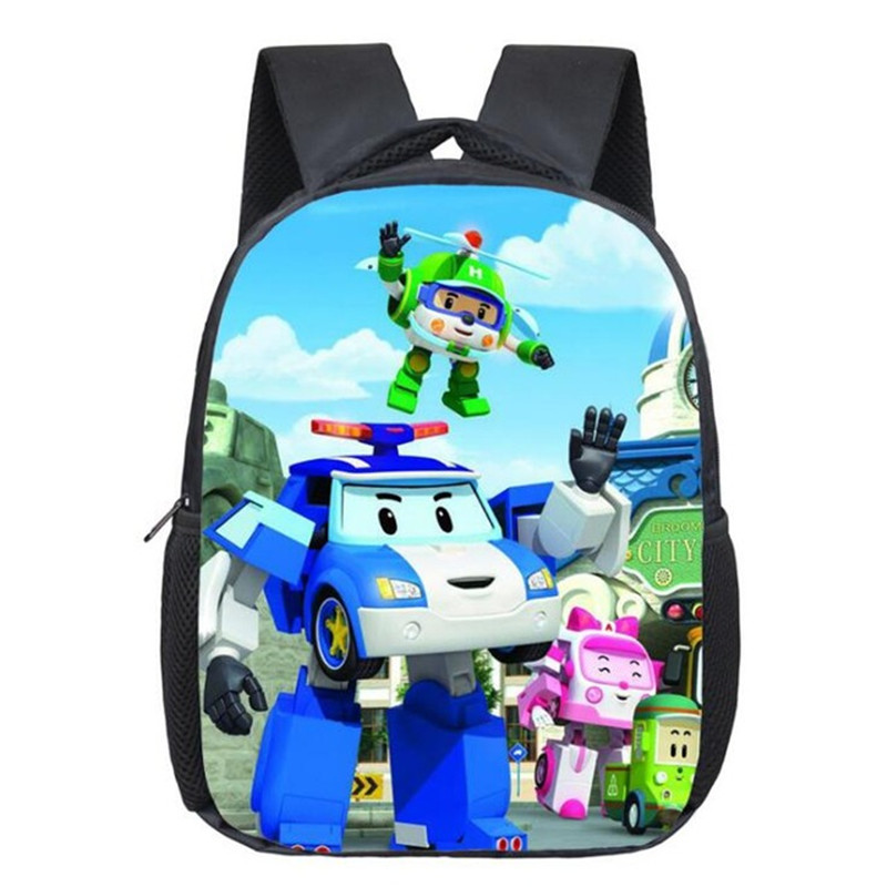 Cartoon Children School Bags  Children Backpack Anime Bags Robocar Poly Bag Kindergarten Casual Travel Backpack