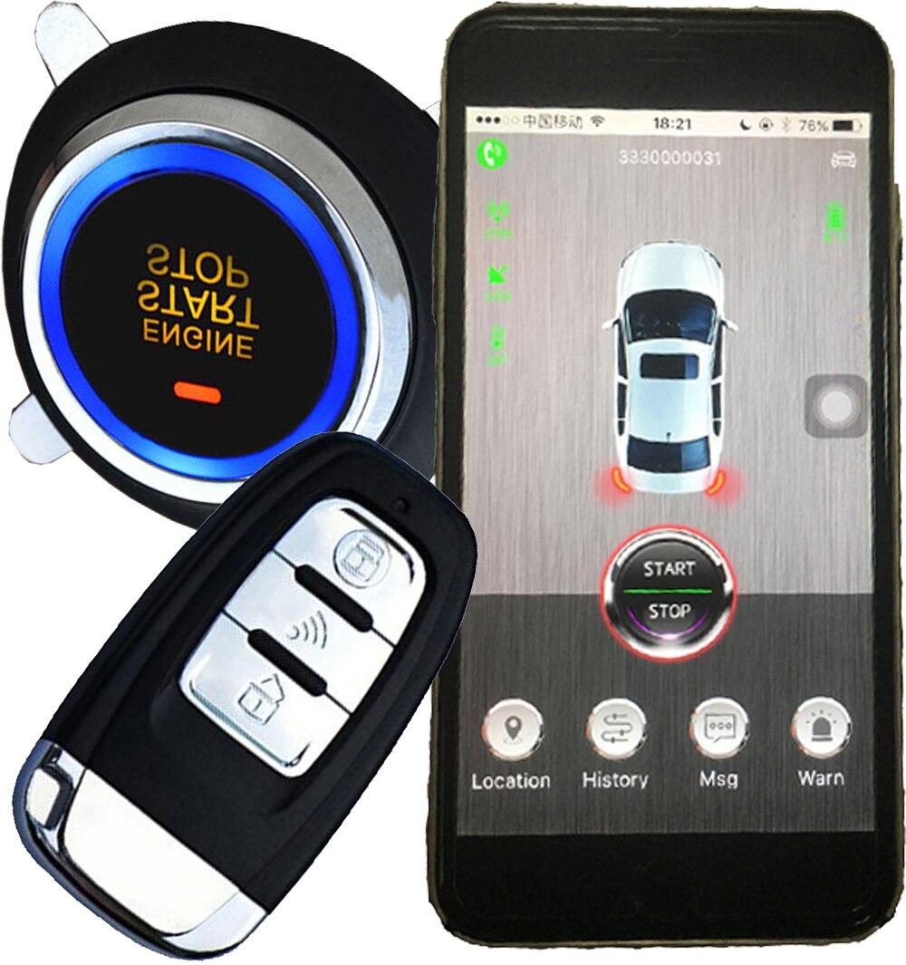 Système d'alarme de voiture 2 voies gps pour téléphone portable avec sécurité de voiture intelligente emplacement de suivi gps sans clé