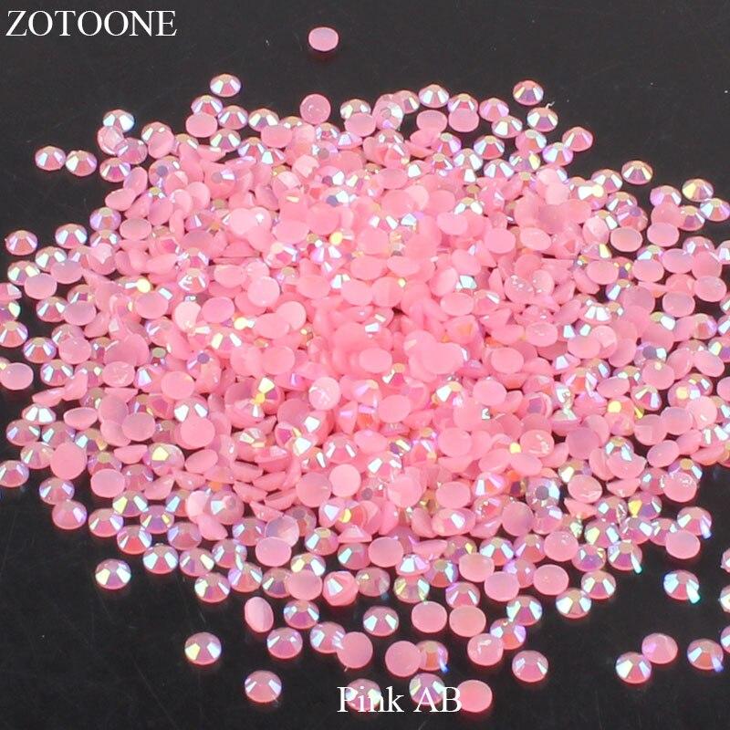 ZOTOONE 2-6 мм 1000 шт прозрачные Стразы AB без горячей фиксации плоские с оборота Стразы для ногтей для одежды ногти 3D дизайн ногтей украшения - Цвет: Pink AB