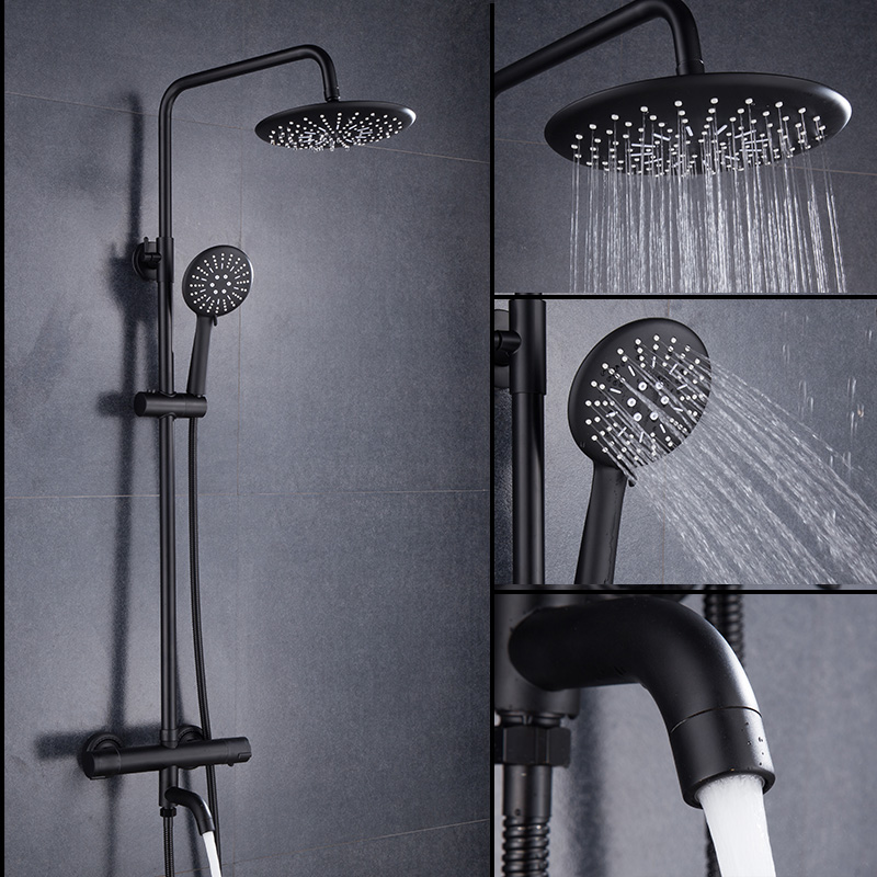 Image 2 - Luxury black thermostatic shower set square shower faucet hot and cold Shower faucet Bathtub thermostatic shower mixer MJ9891Shower Faucets   -