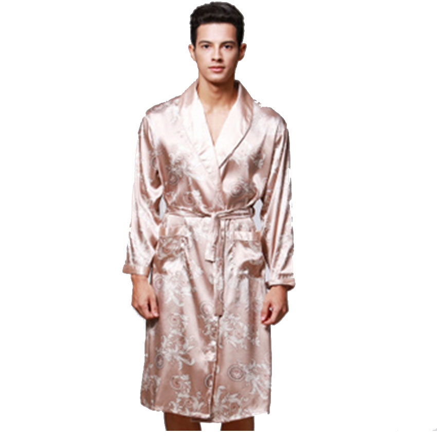 Spring Summer Long sleeved Print V Neck Silk Satin Robe Men s Bathrobe  Nightgown Home Casul Couple Clothes-in Robes from Underwear   Sleepwears on  ... b72db206e
