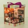 Cor café palavras DIY casa de Bonecas Em Miniatura De Madeira Feitos À Mão DIY Kit & Móveis/instrução inglês Melhor Crianças/aniversário presente