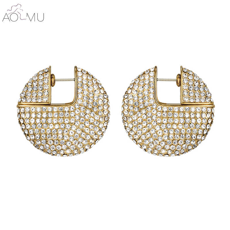 AOMU 2019 Luxury New Gold Metal  Full Crystal Cubic Zirconia Rhinestone Round Circle C Sahpe Stud Earrings for Women Jewelry 3cm