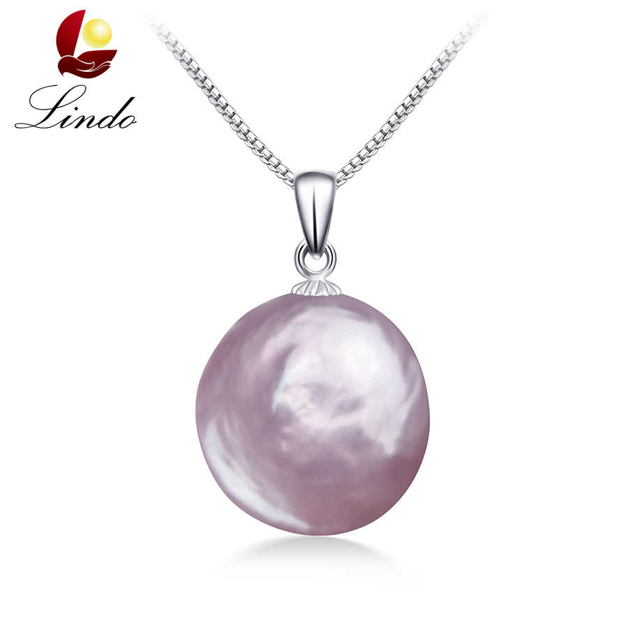 Clearance Sale !! Natural Purple Pink Baroque Pearl Pendants For Women Elegant Silver 100% Freshwater Pearl Necklace Jewelry