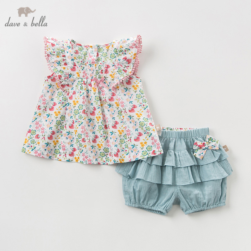 DBM10426 Dave bella summer baby girl clothing sets cute bow floral children suits infant high quality clothes girls outfit