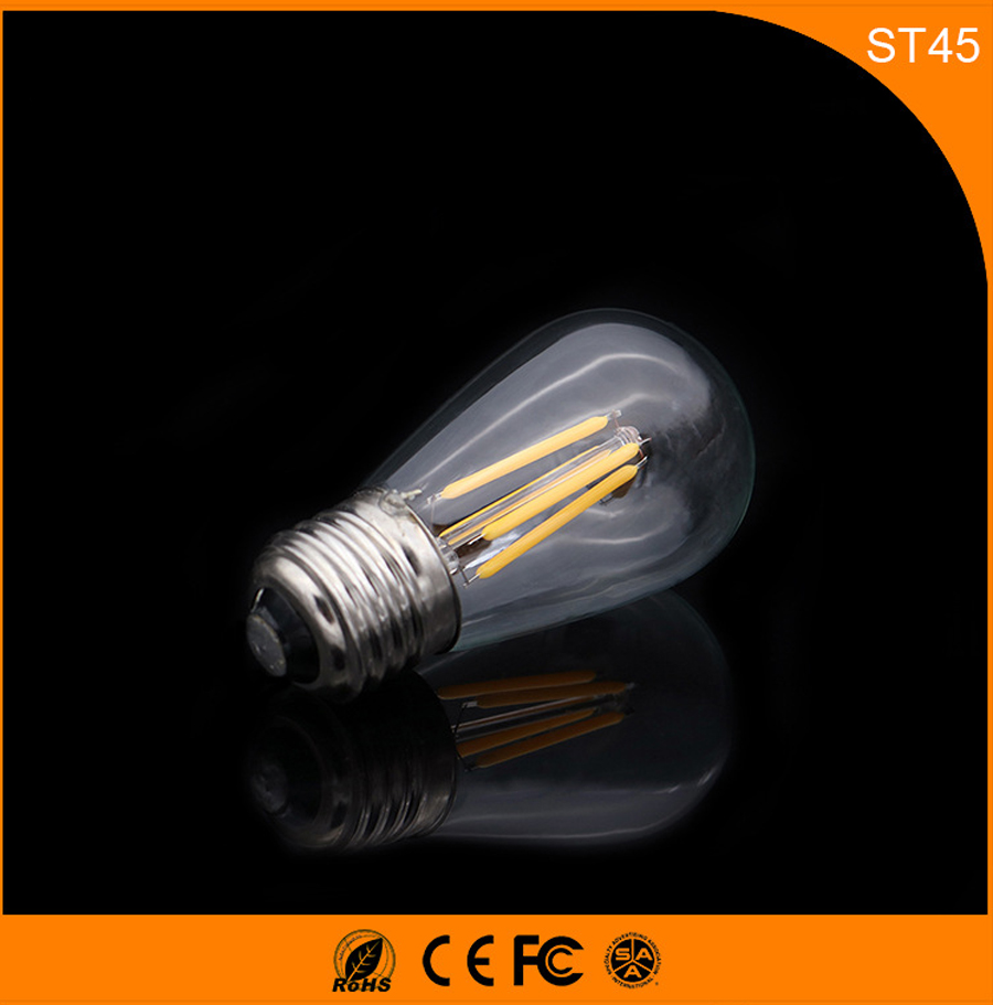 50PCS E27 B22 LED Bulb Retro Vintage Edison,3W ST45 Led Filament Glass Light Lamp, Warm White Energy Saving Lamps Light AC220V retro lamp st64 vintage led edison e27 led bulb lamp 110 v 220 v 4 w filament glass lamp