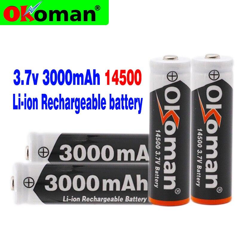 14500 3000 мАч 3,7 в литий-ионные перезаряжаемые литий-ионные аккумуляторы и светодиодный фонарик, бесплатная доставка