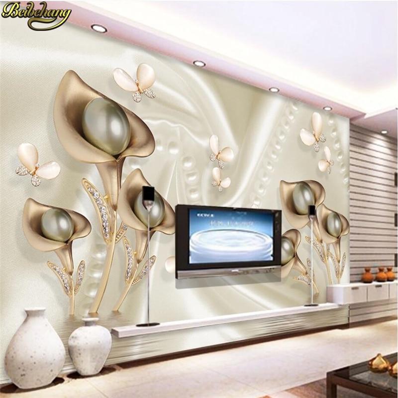 Beibehang CCustom Photo Wallpaper Mural Wall Stick 3d Horseshoe Leaf Butterfly Silk Water Reflection Video Background Wall