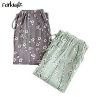 Осень-зима брюки для женщин цветочный принт Длинные брюки для сна женские домашние брюки пижамы хлопковые пижамы брюки pijama bottoms