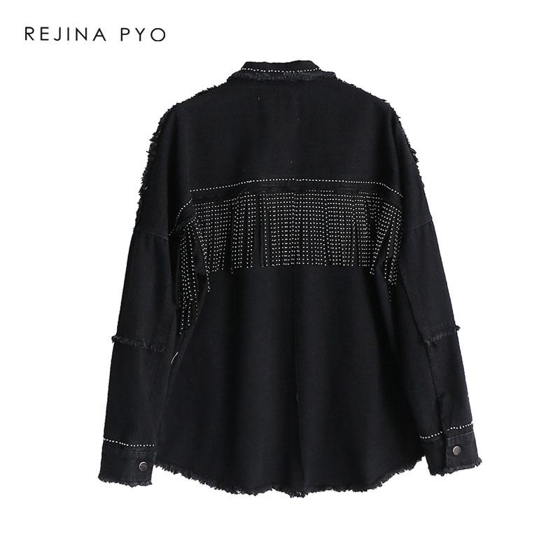 HTB1qHlSXdfvK1RjSszhq6AcGFXal REJINAPYO Women Black High Quality Loose Denim Jacket Coat Sequined Tassels Streetwear All-match Mental Covered Button Outerwear