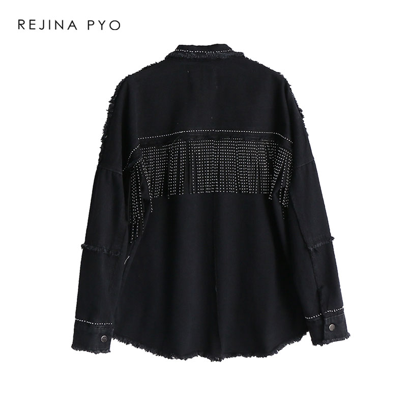 REJINAPYO Women Black High Quality Loose Denim Jacket Coat Sequined Tassels Streetwear All-match Mental Covered Button Outerwear 8