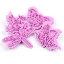 4 adet/takım Kelebek Plastik Kek Çerez Kesiciler Bisküvi Şeker Çikolata Kalıp DIY 3D Fondan Kabartma Kek Dekorasyon Araçları
