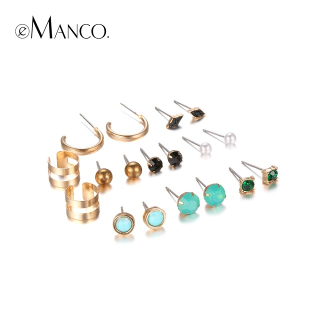 Emanco Unique Design Trendy Multi Colored Stud Earrings Set For Women Green Crystal Ear Jewelry