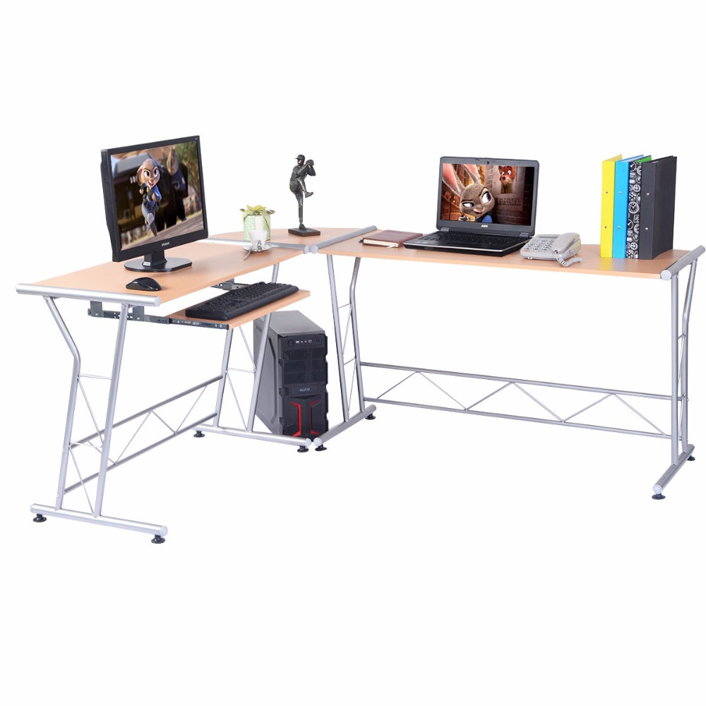 Goplus Modern L-shape Computer Desk Writing Work study Table PC and Laptop Desk Workstation Wood Home Office Furniture HW51816